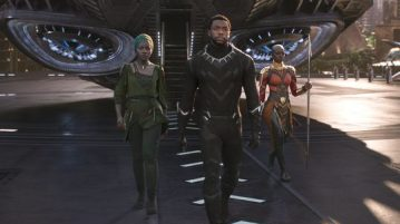 "Nakia (Lupita Nyong'o, from left), T'Challa (Chadwick Boseman) and Okoye (Danai Gurira) are the heroes of ""Black Panther,"" the first superhero film to score an Oscar best picture nomination."