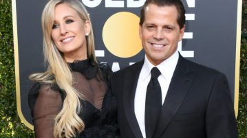 Anthony Scaramucci, a former White House aide and occasional film producer, attends the Golden Globe Awards last week with wife Deidre Ball.