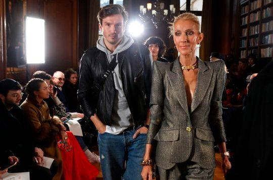 Celine Dion and Spanish dancer Pepe Munoz arrive for the 2019 Spring-Summer Haute Couture collection fashion show by RVDK Ronald van der Kemp in Paris, on Jan. 23, 2019.