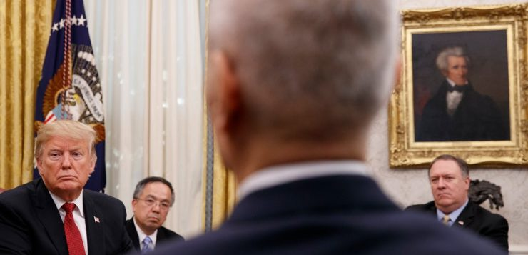 President Trump in the Oval Office last week with Liu He, China's vice premier. The decision not to meet ahead of the deadline was a reversal for the president.CreditCreditTom Brenner for The New York Time