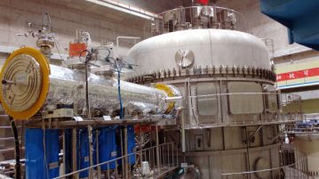 "The Experimental Advanced Superconducting Tokamak fusion device, nicknamed ""artificial sun"", is tested at the Institute of Plasma Physics under the Chinese Academy of Sciences in Hefei, China."