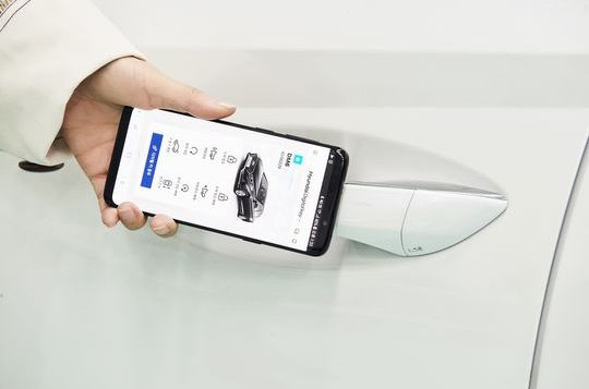 """Hyundai's """"Digital Key"""" uses near-field communication to enable the driver to access and start the car without a key."""